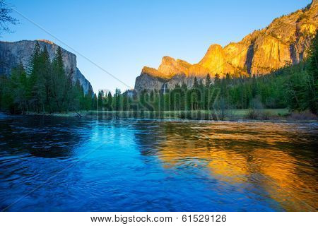 Yosemite Merced River el Capitan and Half Dome in California National Parks US poster