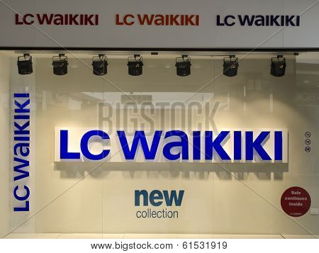 HURGHADA, EGYPTt - MARCH 16, 2014: Showcase mono-brand store LC Waikiki. LC Waikiki - European clothing manufacturer, is an international brand