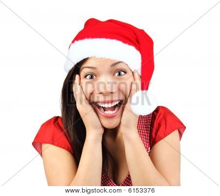 Christmas Woman Surprised