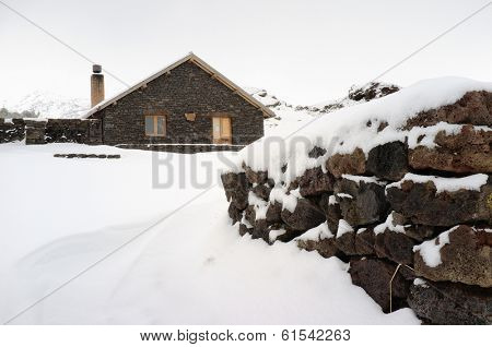 Galvarina Refuge Snow Covered In Etna Park, Sicily