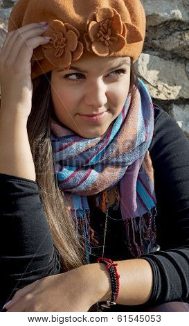 Young Brunette In Autumn Outfit