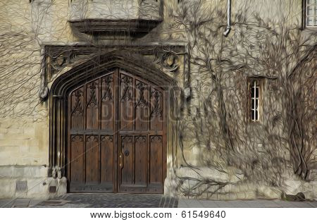 Oil Painting Stylized Photo Of  Ornamental Gate Covered With Ivy