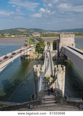 View On The Bridges Leading To Conwy Castle, Wales