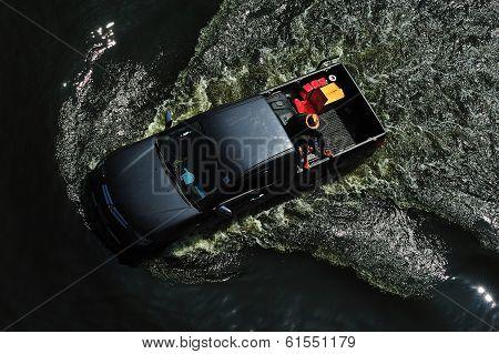 Pickup Drove On Flood In Bangkok