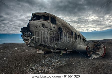 Wreck of a US military plane crashed in the middle of the nowhere. The plane ran out of fuel and crashed in a desert not far from Vik, South Iceland in 1973.