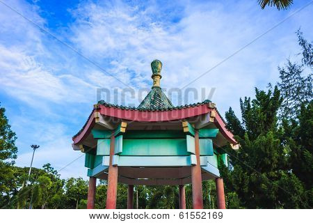 Chinese Pavilion In The  Park
