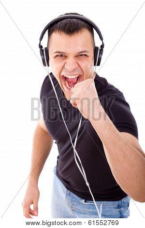 Joyful Man Listening To Music With Headphones