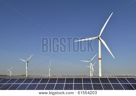 Wind turbines and solar panels in Germany
