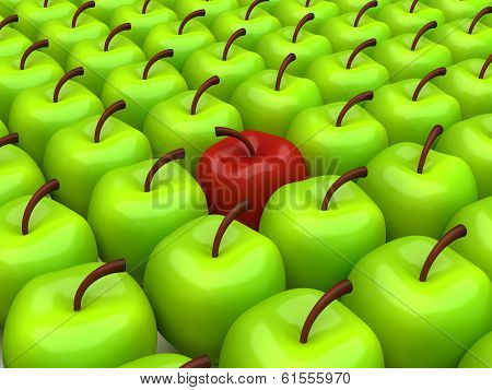 One red apple selected on the background of green apples