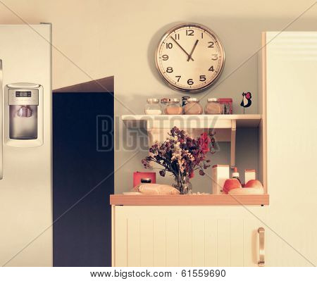 Modern kitchen interior with cute design elements in an overall subtle vintage toning