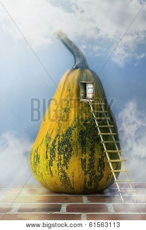 Fairytale pumpkin house with a ladder to the window poster