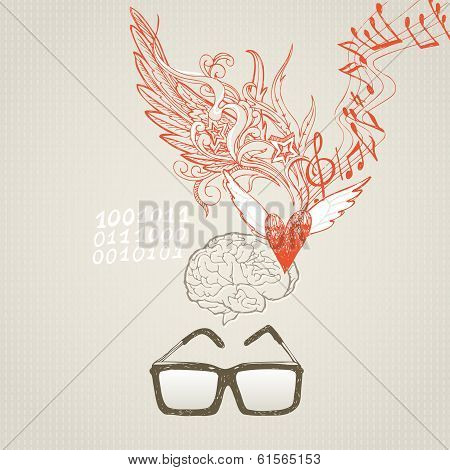 The brain and the difference in right and left hemispheres. Sciences and inspiration poster