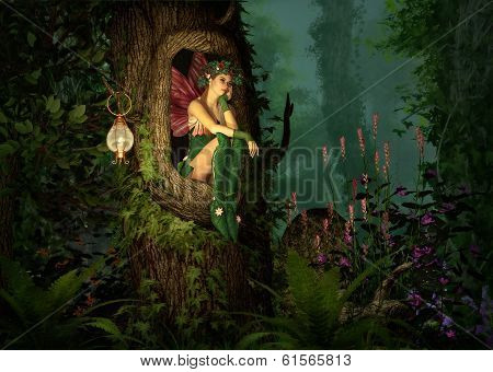 3D computer graphics of a fairy with a wreath on her head sitting in a knothole of a tree poster