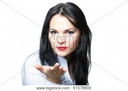 Beautiful Young Woman Blowing A Kiss