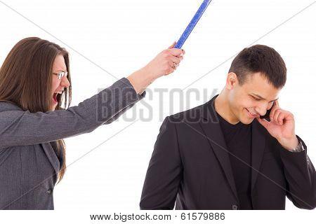 Angry Woman Yelling, Unfaithful Man Having Secrets