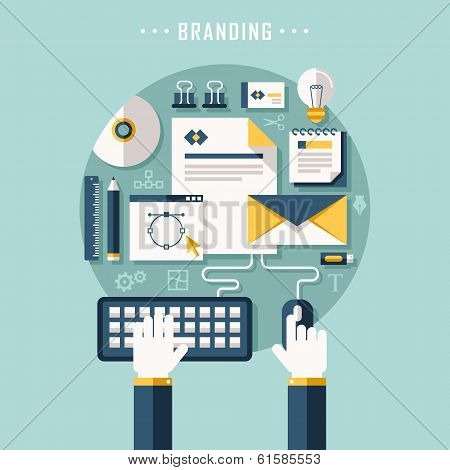 Flat Design Illustration Concept Of Branding