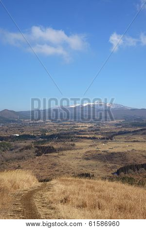 Hanla Mountain, View From Saebyeol Volcanic Cone In Jeju Island