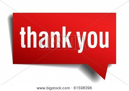 Thank You Red 3D Realistic Paper Speech Bubble Isolated On White