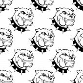 Seamless pattern of a large watchdog with a spiked collar, heavy jowls and an evil toothy grin poster