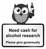 Monochrome comical alcohol research sign isolated on white background poster