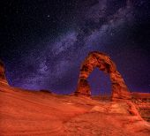 Arches National Park Delicate Arch milky way night sky in Moab Utah USA photo mount poster