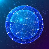 Blue abstract shining triangle grid cosmic vector ball poster