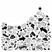 Pile of everything to sell and buy with arrows, hearts and stars, vector funny doodles poster