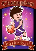 cartoon basketball player slam dunk and star background poster