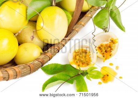 Yellow Passion fruit basket on white background poster