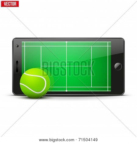 Mobile phone with tennis ball and field on the screen.