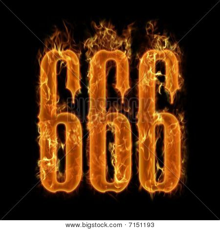 Burning flaming 666 numbers at black background poster