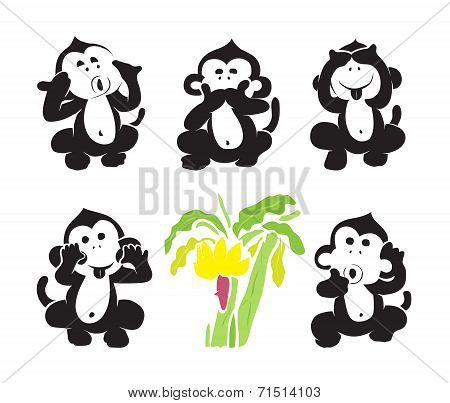 Vector group of monkeys and bananas