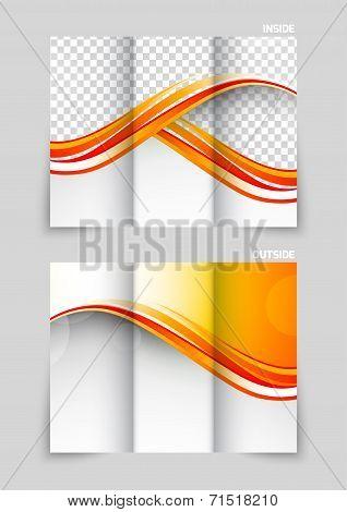 Tri-fold brochure template design in orange wavy style poster