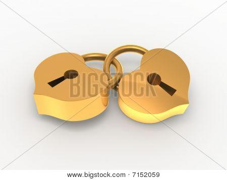 Two golden padlock hearts.