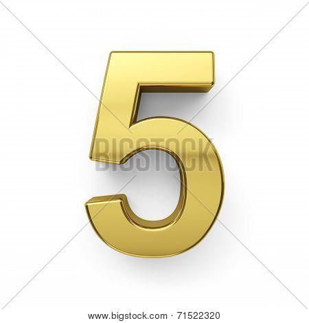 3D Render Of Golden Digit Five Simbol - 5