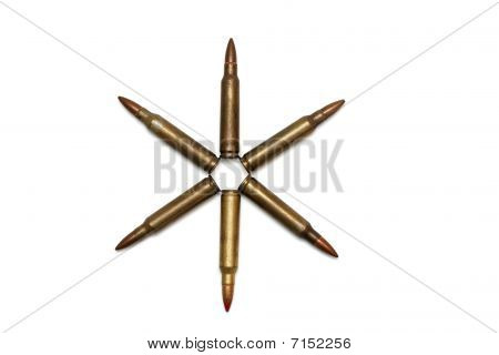 Six-pointed star of M16 cartridges isolated