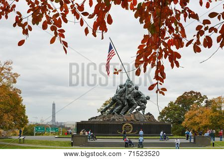 WASHINGTON, DC - NOVEMBER 06, 2013: Iwo Jima Memorial in Washington, DC. The Memorial honors the Marines who have died defending the US since 1775 and a prominent tourist attraction in Washington DC.