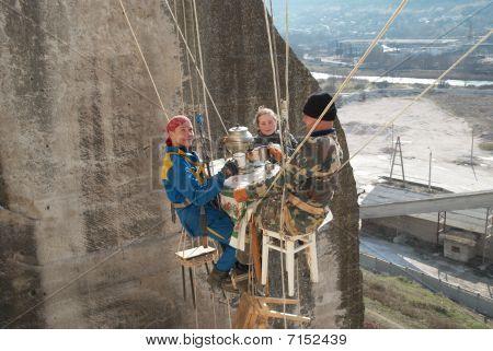 Sevastopol, Ukraine - February 22: Tea-drinking On Height Of Twenty Metres. Rescuer Training  Februa
