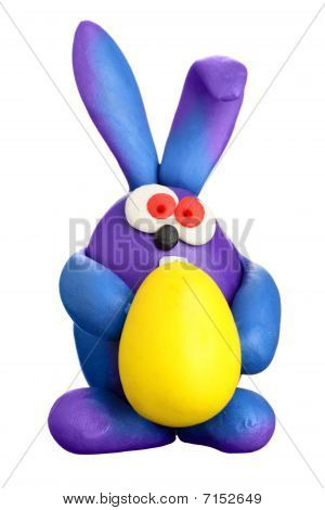 Plasticine Rabbit With Easter Egg