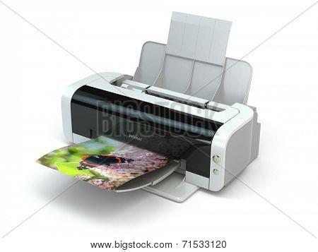 Color printer prints photo on white isolated background. 3d