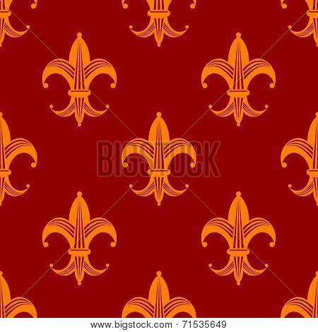 Seamless fleur de lys royal orange pattern