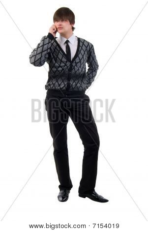 Modern Young Man Talking On Mobile Phone. Studio Shoot Over White Background.