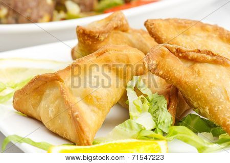 Middle eastern food fatayer stuffed in spinach poster