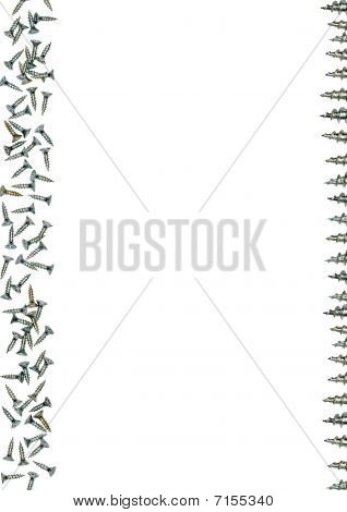 Silver metallic screws frame with a white background