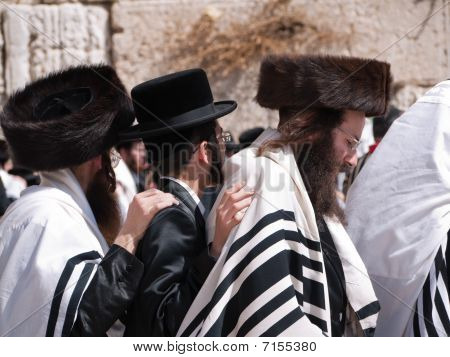 Hassidic Jewish men Dancing At The Western Wall Jerusalem