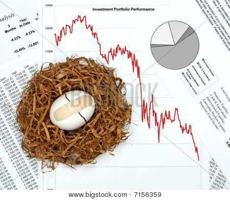 What Happened To Your Nest Egg?  Investment Performance Charts And Broken Egg With Bandage In Nest