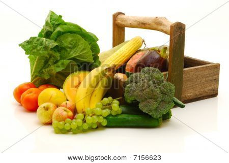 Fruit And Vegetables Isolated On White