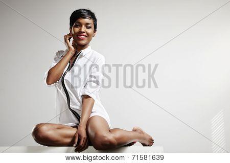 Happy Black Woman In Man Shirt