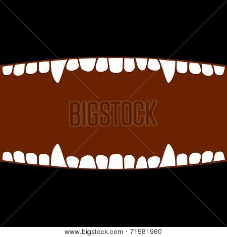 Vampire Mouth with Teeth. Halloween Background. Vector