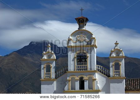 Quiroga Church With Mount Cotacachi